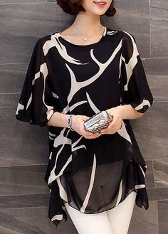 Black Round Neck Half Sleeve Printed Blouse, comfortable chiffon fabric and affordable price, don't miss again.
