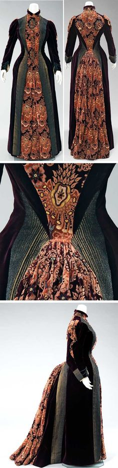 Purple dress, Mme. Uoll Gross, New York, 1888. Silk and metal. The sleek lines of this dress have an Art Nouveau feel, but the side silhouette is as bulky as that of any other bustle dress. Metropolitan Museum of Art