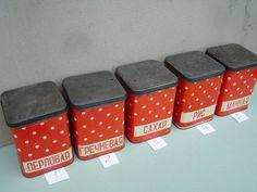 Vintage Polka Dot Tin Box Soviet larger Size Tin Container
