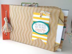 Tag-a-Bag Paper Bag Album with Baker's Twine Tassel: Creative Juice by Loni. Stampin' Up!