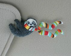 Sloth Car Visor cling on - plush stuffed animal  with bendable legs and scarf - felt rain forest animal
