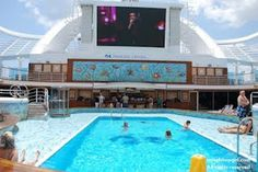 Ruby Princess Cruises - Watch your favority movie while in the pool!!!