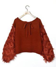 w closet(ダブルクローゼット)の「フリンジ織りボリューム袖プルオーバー(ニット/セーター)」|詳細画像