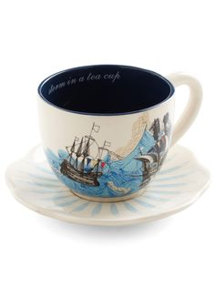 Swell Mornings Mug by Disaster Designs - Blue, Nautical, White, Multi, Novelty Print