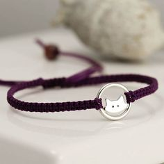 Handmade sterling silver friendship bracelets on cord. These bracelets are adjustable and fasten with a sliding knot closure. Ocean Jewelry, Body Jewelry, Jewelry Shop, Jewellery, Bracelet Gift Box, Jewelry Accessories, Jewelry Design, Silver Cat, Cat Necklace