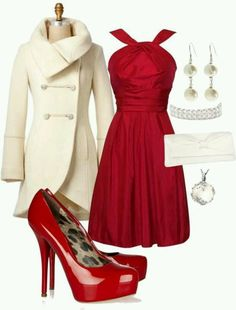 Beige cream and red
