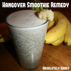 New Year's Day Hangover Smoothie Remedy Hangover Smoothie, Hangover Remedies, Party Drinks, Chia Seeds, Coconut Water, Bananas, Ninja, The Cure, Journey