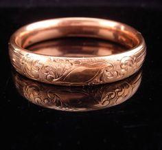 1900s Victorian bracelet / rose gold filled bracelet / antique bracelet / Hinged floral bracelet / 1/20th bangle signed / estate jewelry
