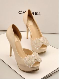 ecce55aaad3 Gorgeous high heeled wedding shoes by chanel. Make your wedding dressing  complete with these perfectly designed high heels.