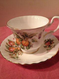 "ROYAL ALBERT Fine Bone England China Teacup & Saucer FRUIT Peaches Pears Grapes ""Fruit Cart"""