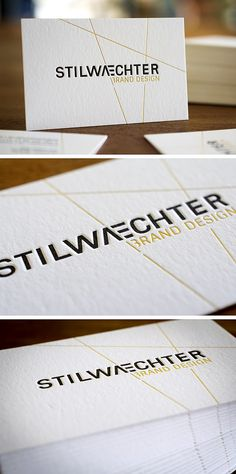 Letterpress Business Card STILWAECHTER BRAND DESIGN With Hot Foil Stamping In Gold Stilwaechterde