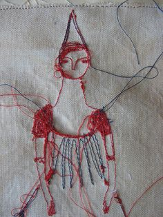 Detail, 'dreams' portrait by textile artist Cathy Cullis. via the artist on flickr