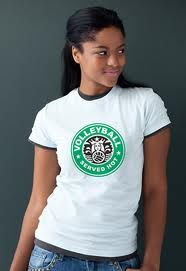 Starbucks volleyball logo shirt