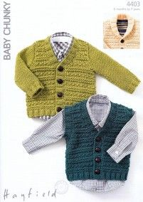 Waistcoat and Cardigans in Hayfield Baby Chunky (4403) not free. Might try to do myself