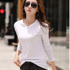 2019 Women Long Sleeve Cotton T Shirt Ladies Autumn O-Neck Solid Tops Casual Button Simple Thin Tee Cheap T Shirts, Casual Tops, Autumn, Clothes For Women, Lady, Tees, Simple, Long Sleeve, T Shirts
