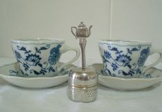 Blue Danube, Tea Cup Duos, Blue and White Porcelain, Vintage China, Onion Pattern