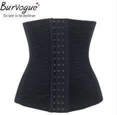 Burvogue Woman Waist Cincher Corselet Body Shaper Sexy Waist Control underbust Corsets  Bustiers Black Satin Steel Bone Corset Like and share if you think it`s fantastic! Visit our store