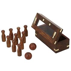 Wooden Game Bowling Set for Kids 2 Balls and 10 Pins Handmade birthday Gifts ShalinIndia http://www.amazon.in/dp/B00PU0AJEM/ref=cm_sw_r_pi_dp_JQ.Avb1415YFB