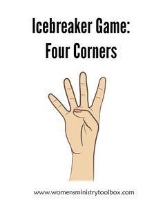 Four Corners Icebreaker: Four Corners - Fun, active game for your next women's ministry event!Icebreaker: Four Corners - Fun, active game for your next women's ministry event! Ice Breaker Games For Adults, Games For Teens, Adult Games, Youth Ice Breaker Games, Teen Games, Quick Ice Breaker Games, Ice Breaker For Teens, Abc Games, Large Group Games