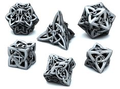 If I had unlimited funds and unlimited space, my gadget cave would be chock full of all sorts of geeky toys like these super cool Celtic dice from eondesigner, a designer on the Shapeways site. Skyrim, Game Master, Geek House, Geeks, Dungeons And Dragons Dice, 3d Art, Dragon Dies, Celtic Art, Celtic Crosses