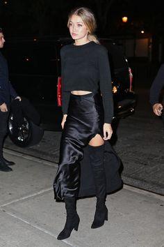 Gigi Hadid wearing  Everlane Cashmere Cropped Crew Sweater, Stuart Weitzman Alllegs Thigh High Boots, Nili Lotan Side Slit Maxi Skirt