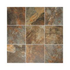 Shop American Olean 15-Pack 12-in x 12-in Kendal Slate Carlisle Black Glazed Porcelain Floor Tile at Lowes.com
