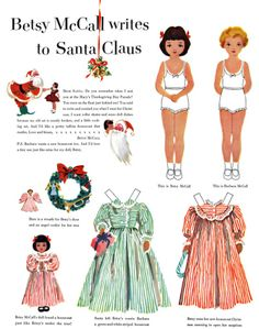 """Free Vintage Printable Betsy McCall and Her Cousin Barbara McCall Paper Doll - """"Betsy McCall Writes to Santa Claus"""""""