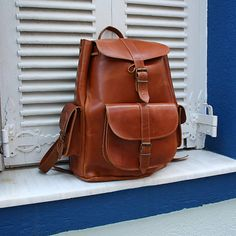 Women Leather Backpack from 100% Full Grain by NickysLeather