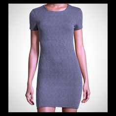 """Neiman Marcus Quilted Shift Dress """"Less is more """", our favorite go to piece in the closet. That one piece that can be styled in multiple ways. A fashionista """"must have"""" - Gray is the new black....round neckline/ short sleeves/ hidden back zip/ shift silhouette .. Neiman Marcus Dresses Midi"""