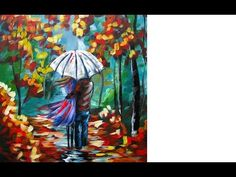 Painting tutorial. Lovers Walking in Rain | Umbrella Art | Beginners Acrylic Painting - YouTube. Please also visit www.JustForYouPropheticArt.com for more colorful art you might like to pin. Thanks for looking!