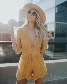 Hera Lace Romper - Mustard