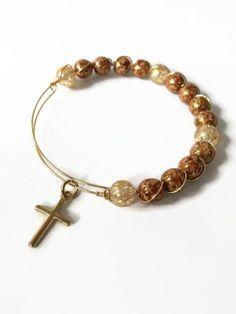 Brown Marble Beaded Bracelet Religious Bracelet Gold Cross Charm Bracelet Czech Glass Gold Expandable Wire Bangle Bracelet (MBX138) by JulemiJewelry on Etsy