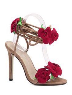a2123d3459ea Rose Lace-Up Stiletto Sandales à talons - Abricot 37 Maillot De Bain