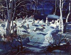 """Moon Magic"" watercolor 1946, Hardie Gramatky. Bernhard August ""Hardie"" Gramatky, Jr. (1907-1979) was an American painter, author, and illustrator."
