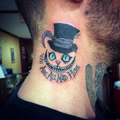 funny one today #tattoo #colortattoo #aliceinwonderland #cheshirecat #weareallmadhere #tattooart #tattooed #inked #necktattoo #zaratustrastudiotattoo #volos #tattooistartmag #tattooing
