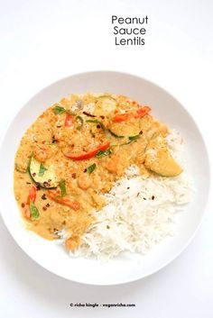 Veggies and Lentils in Peanut Sauce | Vegan Richa #vegan #glutenfree #protein Easy weeknight meal. Yes, add lentils to Thai Peanut Butter Sauce! Use other nut butters for variation