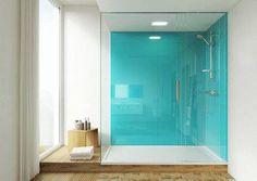 Lustrolite glass effect panels - hygienic, hard-wearing and stylish Bathroom Toilets, Basement Bathroom, Bathrooms, Shower Wall Panels, Shower Walls, Acrylic Wall Panels, Bathroom Interior Design, Bathroom Designs, Shower Makeover