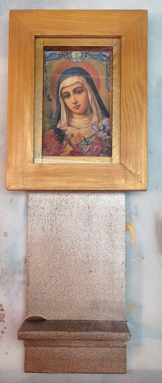 Mother Mary shrine  mixed media collage assemblage art by Boltpost