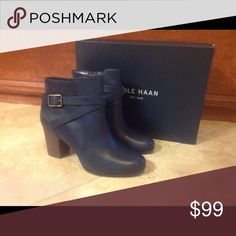 Blue COLE HAAN Beauties New in Box Blue Cole Han, brown heel, bronze buckle. They speak for themselves. Cole Haan Shoes Ankle Boots & Booties