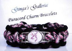 CUSTOM Black and Pink Camo Browning Buck/Deer Cobra Paracord Bracelet  | gingasgalleria - Jewelry on ArtFire