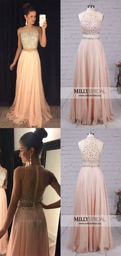 Champagne Prom Dresses,Long Formal Dresses,2018 Evening Dresses Modest,Two Piece Party Dresses,A-line Military Ball Dresses Chiffon #promdresses