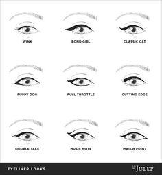 Different eyeliner looks courtesy of Julep
