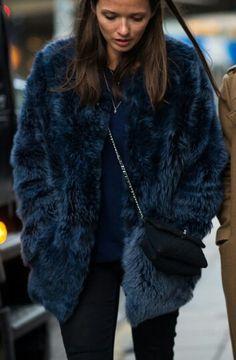 fuzzy blue coat