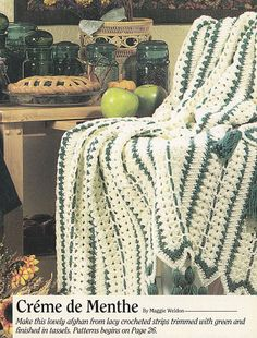 Christmas Afghan Crochet Patterns - Creme de Menthe Strip Afghan #crochet #afghan