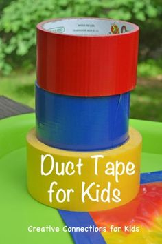 Ideas for using duct tape for kids toys and activities. I'm just curious...this would probably end in hair, on Garrett and Adalynn and all over Brittany's house...but let's take a look