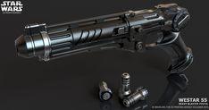 Westar 55 Heavy blaster pistol by ksn-art on DeviantArt Sci Fi Weapons, Weapon Concept Art, Fantasy Weapons, Ninja Weapons, Star Wars Film, Star Wars Rpg, Star Wars Concept Art, Star Wars Fan Art, Blaster Star Wars
