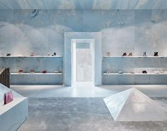 In Miami's design district the latest flagship store from French fashion house Celine with its opulent marble fit-out designed by Swiss studio, Valerio Olgiati. Dark Interiors, Shop Interiors, Castle Interiors, Design Interiors, Colorful Interiors, Design Blog, Store Design, Display Design, Set Design