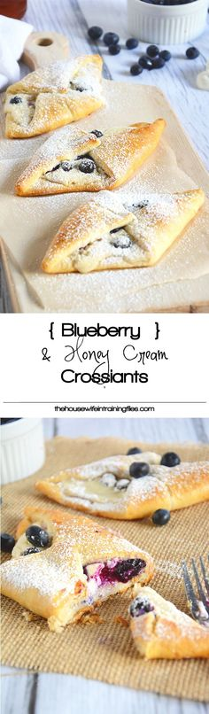 Blueberry & Honey Cream Croissants are buttery and flakey, filled with whipped honey cream cheese, tart blueberries are the perfect breakfast!