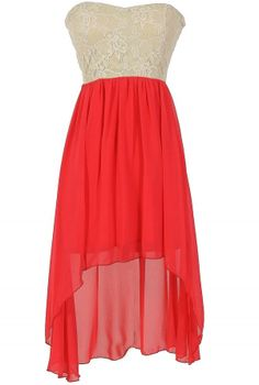 Trista Strapless Lace and Chiffon High Low Dress in Coral www.lilyboutique.com