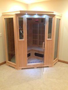 Good Health Saunas GS-Series 3-Person Corner Hemlock Wood Infrared Sauna #getsweaty #infraredsauna #happycustomer